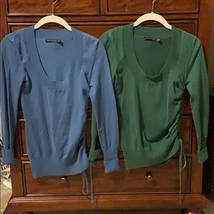 Two scoopneck sweaters